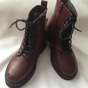 Zara Kids Laced Real Leather Zip Boots /Maroon/Red